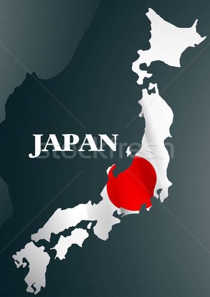 Japán vidék térkép zászló világ piros Stock fotó © adamfaheydesigns