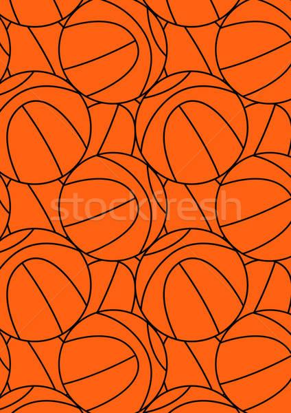 Basketbal herhalen patroon zwarte oranje Stockfoto © adamfaheydesigns