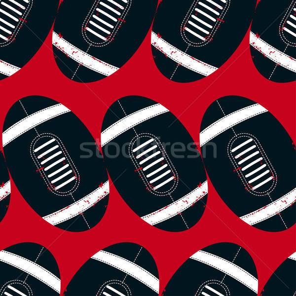 Stock photo: Navy footballs seamless pattern on a red background