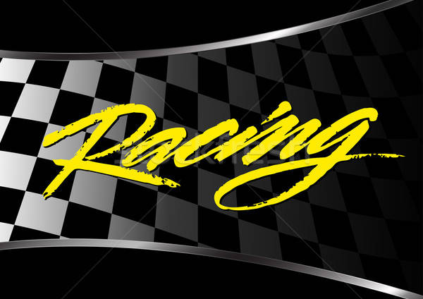Checkered flag background with racing script Stock photo © adamfaheydesigns