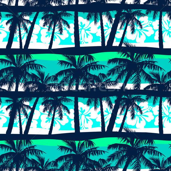 Tropical frangipani with palms seamless pattern Stock photo © adamfaheydesigns