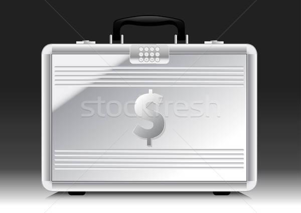 Ezüst bőrönd felirat oldal pénz biztonság Stock fotó © adamfaheydesigns