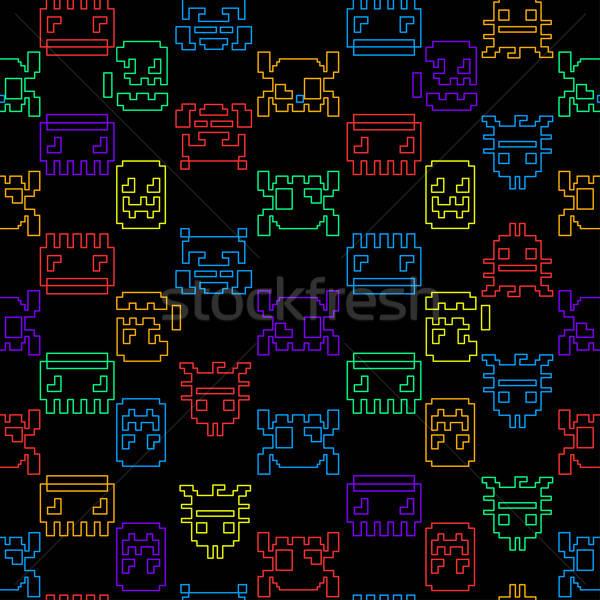 Computerspel grafische zwarte Blauw Rood Stockfoto © adamfaheydesigns