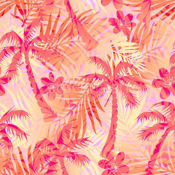 Red abstract tropical palms seamless pattern Stock photo © adamfaheydesigns