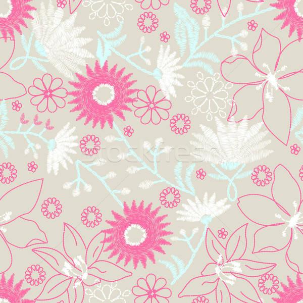 Kwiatowy haft projektu kwiat moda Zdjęcia stock © adamfaheydesigns