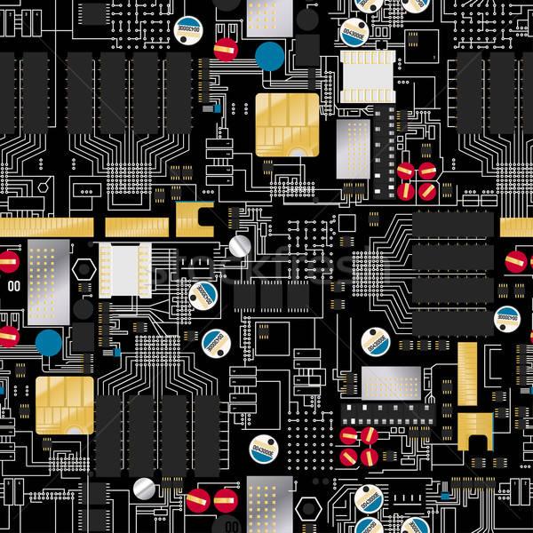 Circuito componenti fili texture nero Foto d'archivio © adamfaheydesigns