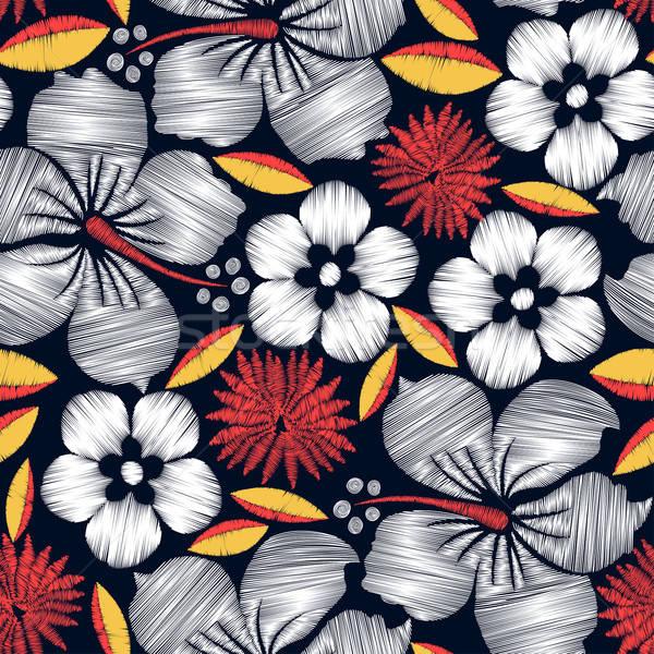 ハイビスカス 熱帯 刺繍 花 ファッション ストックフォト © adamfaheydesigns