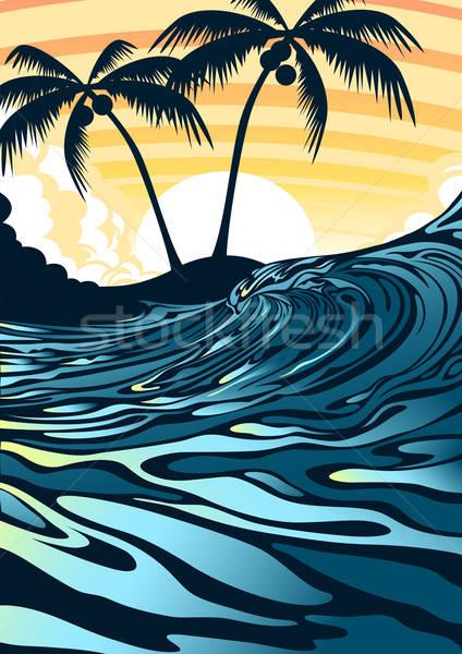 Surf playa amanecer palmeras nubes puesta de sol Foto stock © adamfaheydesigns