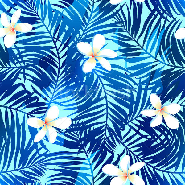 Tropical palms seamless pattern in blue with Frangipani flower Stock photo © adamfaheydesigns