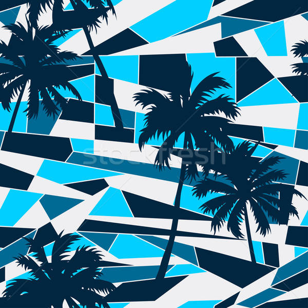 Abstract surf pattern with palm trees seamless pattern Stock photo © adamfaheydesigns