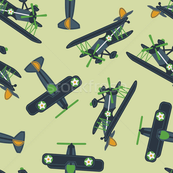Stock photo: Vintage plane flying loops seamless pattern