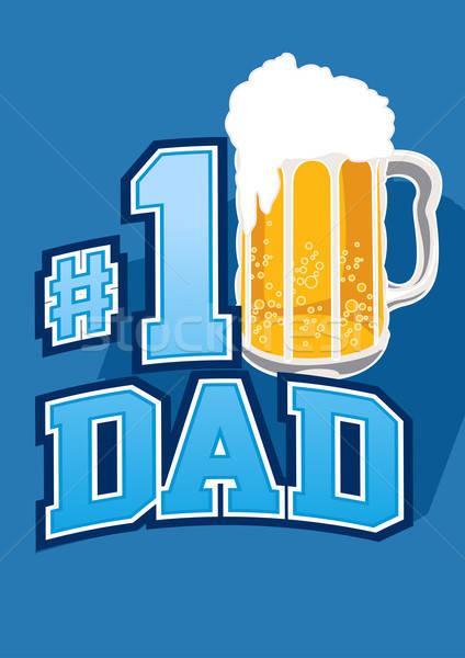 Piwa szkła numer tata pęcherzyki ojciec Zdjęcia stock © adamfaheydesigns