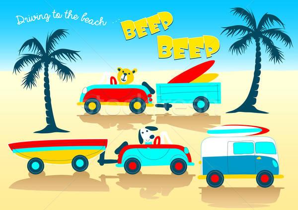 Animals driving to the beach beep beep Stock photo © adamfaheydesigns