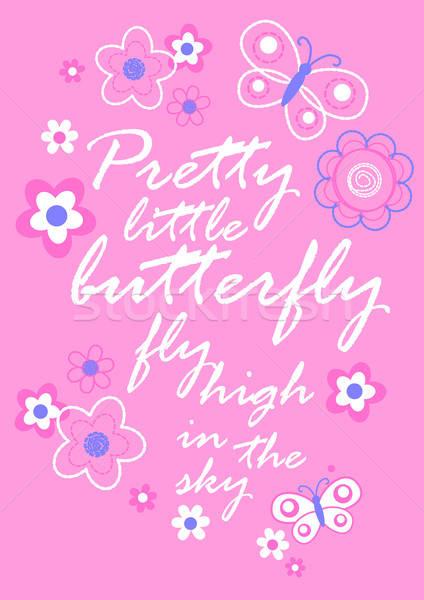 かなり 蝶 花 刺繍 少女 ストックフォト © adamfaheydesigns