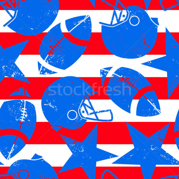 Stars and Stripes distressed football seamless pattern Stock photo © adamfaheydesigns
