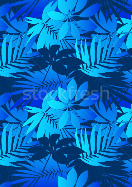 Mid and light blue tropical leaves in repeat pattern Stock photo © adamfaheydesigns