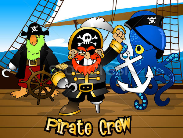 Pirate crew with the Captain on a ship deck Stock photo © adamfaheydesigns