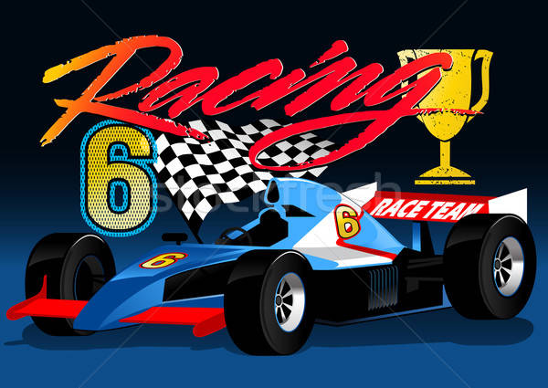 Open wheel blue racing car with trophy and flag Stock photo © adamfaheydesigns