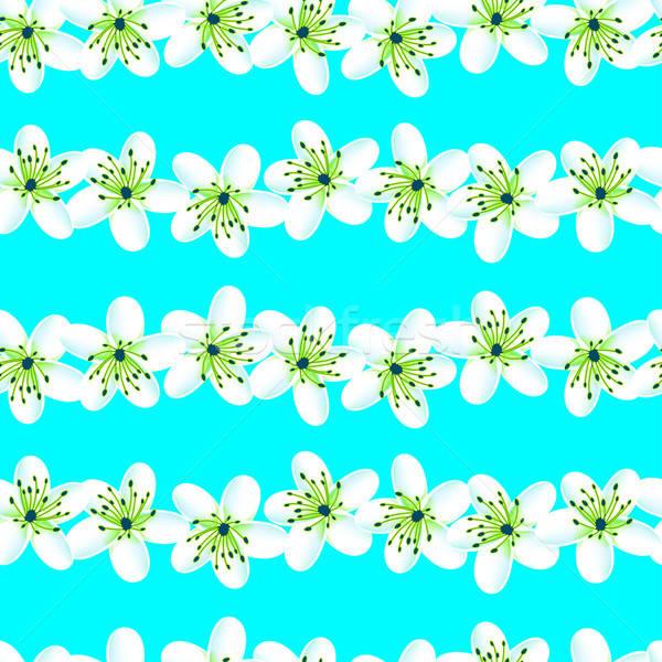 Zöld kék trópusi végtelen minta virág nyár Stock fotó © adamfaheydesigns
