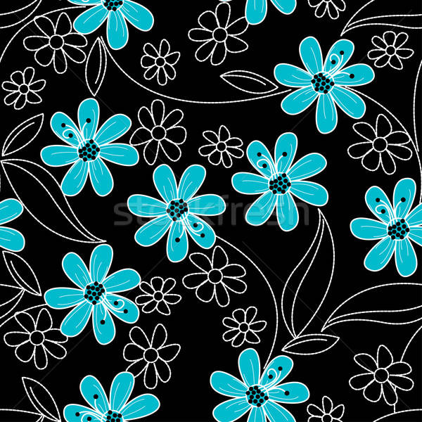 Light blue flowers on black and white embroidery in a seamless p Stock photo © adamfaheydesigns
