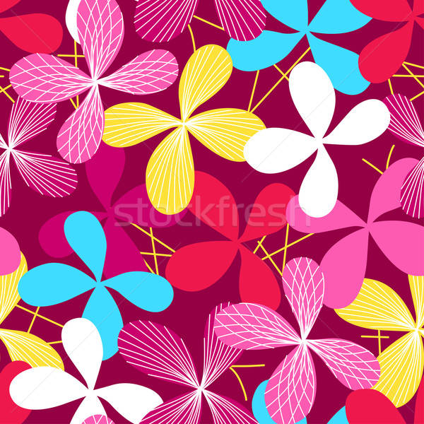 Abstract simple line floral seamless pattern Stock photo © adamfaheydesigns