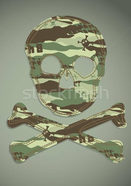 Kamuflaż czaszki cool cień wektora Zdjęcia stock © adamfaheydesigns