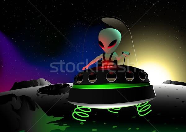 Grey alien flying on moon surface in a UFO Stock photo © adamfaheydesigns