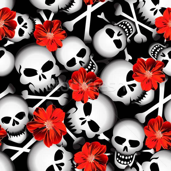 Koponyák piros virágok végtelen minta halál fekete-fehér fehér Stock fotó © adamfaheydesigns