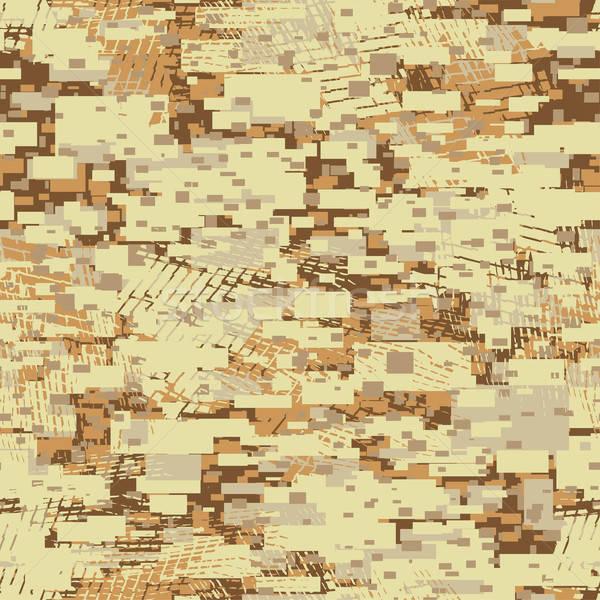 Camouflage desert disruptive block khaki seamless pattern Stock photo © adamfaheydesigns