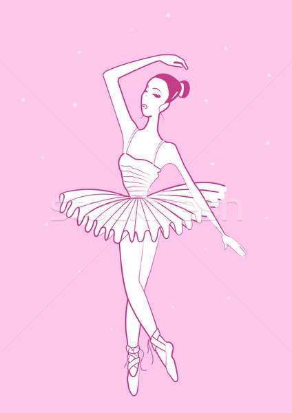 Ballerina lány tánc rózsaszín ruha Stock fotó © adamfaheydesigns