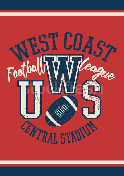 Запад побережье футбола лига плакат моде Сток-фото © adamfaheydesigns
