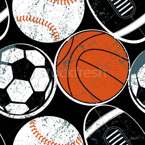 Sportok golyók végtelen minta gyerekek futball baseball Stock fotó © adamfaheydesigns