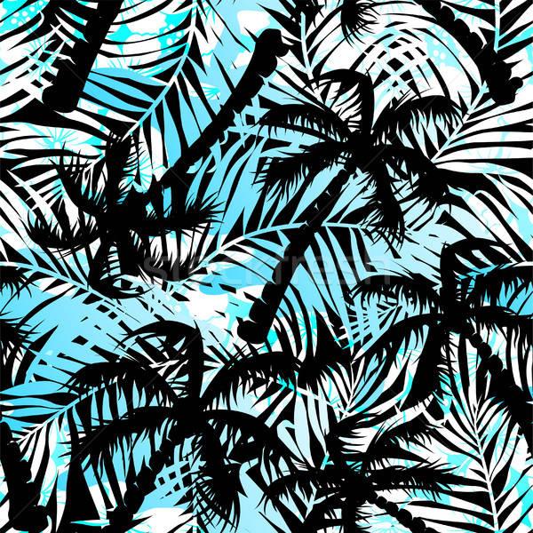 Trópusi kék fekete pálmafák végtelen minta tengerpart Stock fotó © adamfaheydesigns