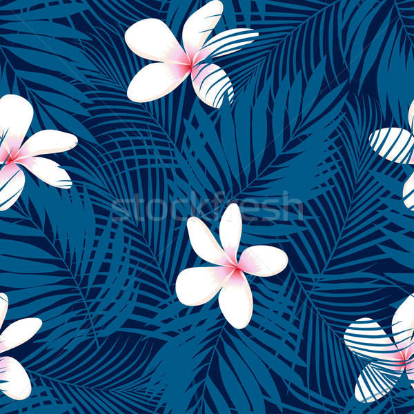 Tropical Plumeria floral seamless pattern Stock photo © adamfaheydesigns