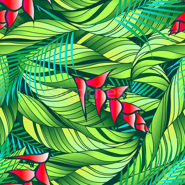 Trópusi növény piros virágok végtelen minta természet zöld Stock fotó © adamfaheydesigns