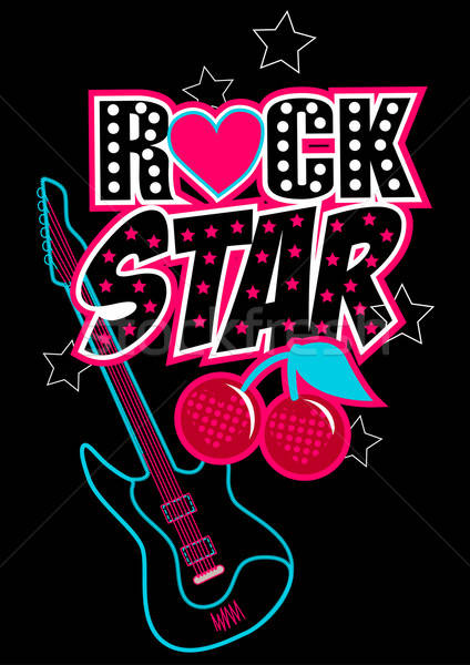 Rock star poster with guitar and abstract cherries Stock photo © adamfaheydesigns