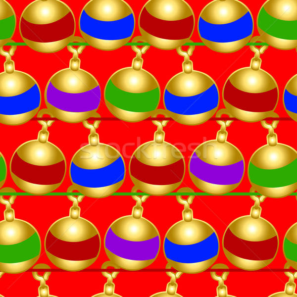 Christmas baubles seamless pattern on a red background Stock photo © adamfaheydesigns