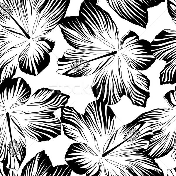 Tropical flowers seamless pattern in black and white Stock photo © adamfaheydesigns