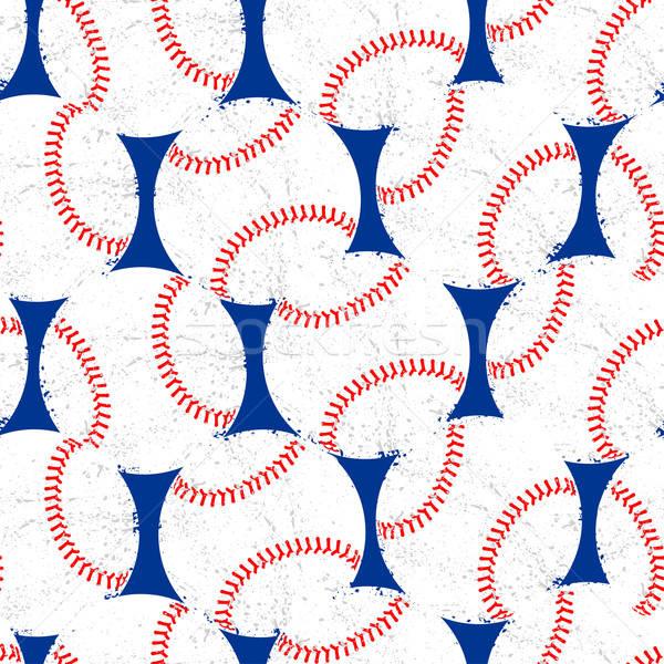 Baseballs with distressed texture seamless pattern Stock photo © adamfaheydesigns