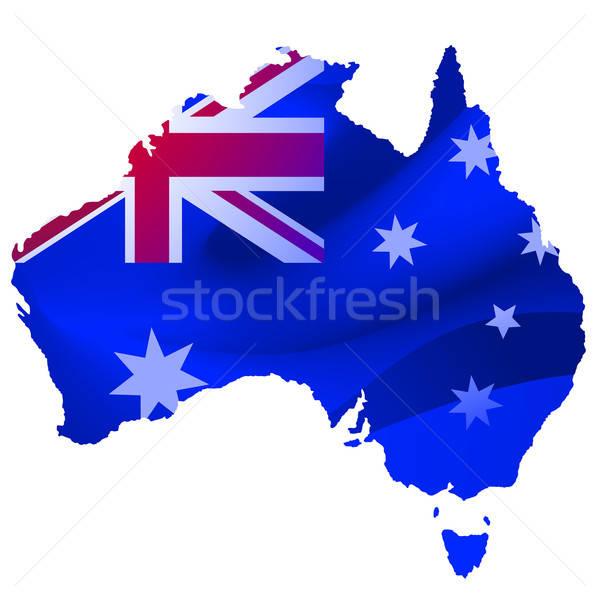 Kaart Australië Blauw achtergrond golf witte Stockfoto © adamfaheydesigns