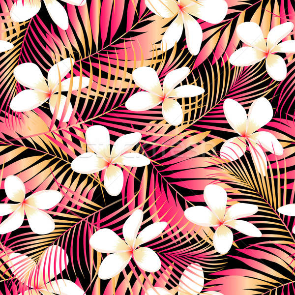 Tropical Plumeria with red and orange leaves seamless pattern Stock photo © adamfaheydesigns