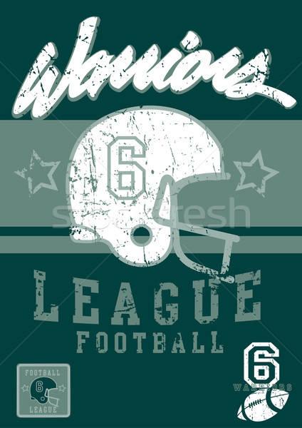 футбола Воины лига старые плакат звездой Сток-фото © adamfaheydesigns