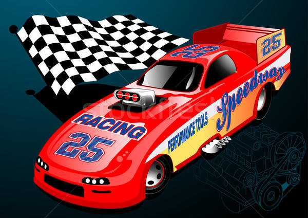 Red Dragster racing car with chequered flag and engine illustrat Stock photo © adamfaheydesigns