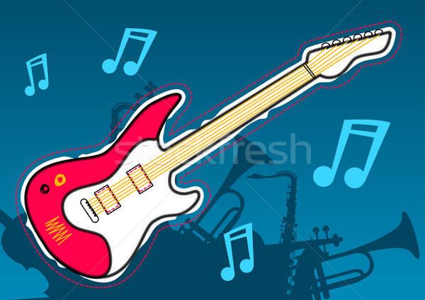 Guitar music with musical instrument silhouettes Stock photo © adamfaheydesigns