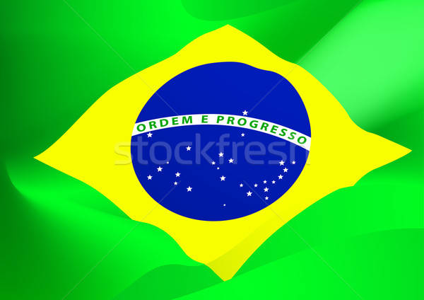 аннотация Бразилия флаг ветер фон звезды Сток-фото © adamfaheydesigns