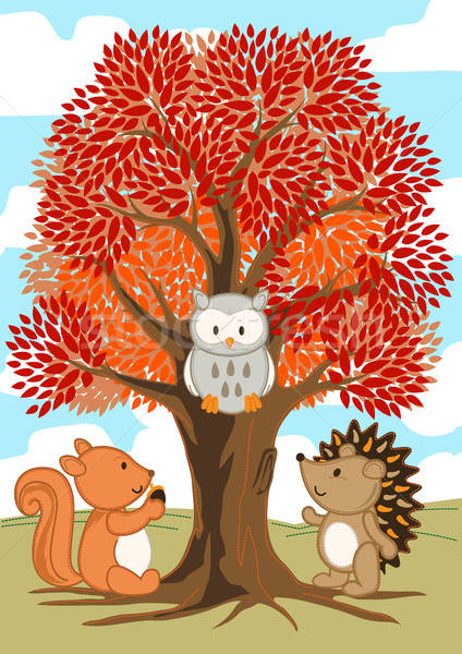 Forest friends under a tree in fall Stock photo © adamfaheydesigns