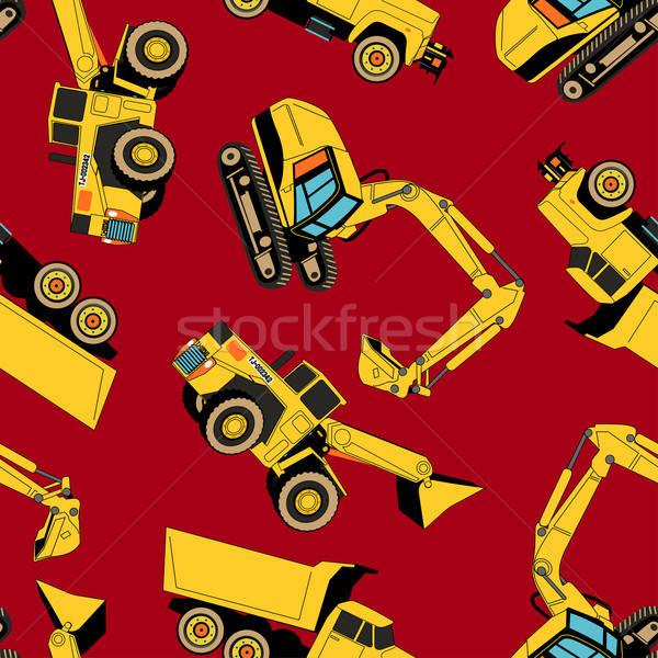 Work area construction vehicles seamless pattern Stock photo © adamfaheydesigns