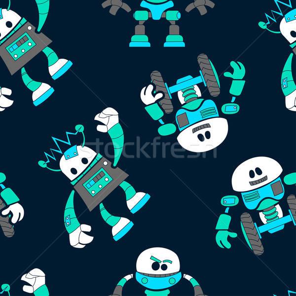 Aranyos robotok végtelen minta gyerekek technológia háttér Stock fotó © adamfaheydesigns