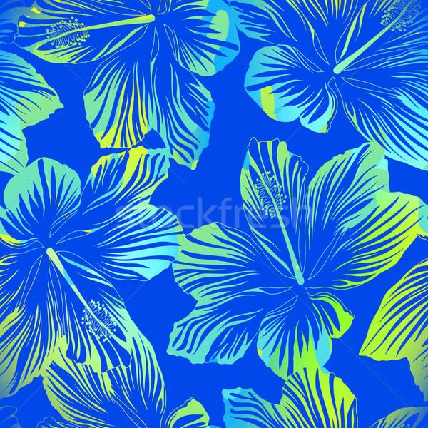 Tropicales flores azul acuarela efecto Foto stock © adamfaheydesigns