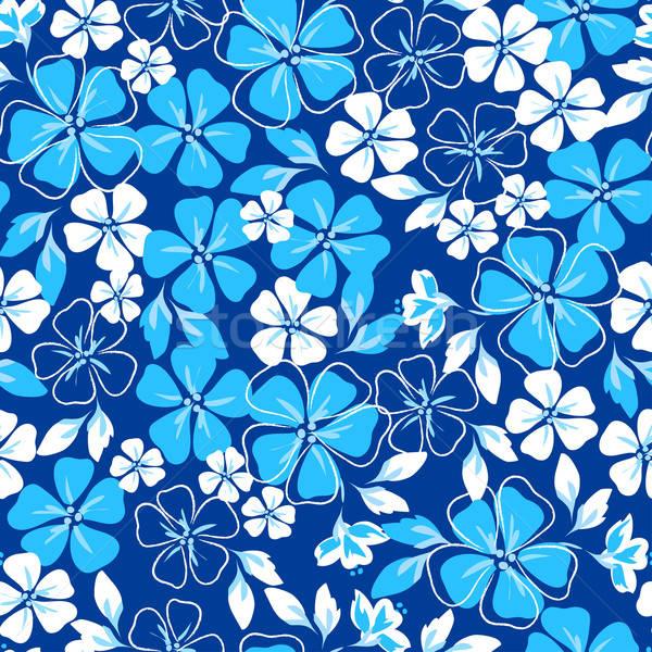 Kék fehér virágmintás végtelen minta Stock fotó © adamfaheydesigns